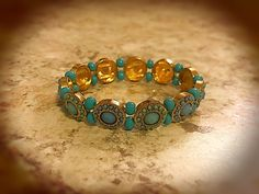 Excited to share this item from my shop: Turquoise and Gold Fancy Bracelet Etsy Jewelry, Unique Jewelry, Turquoise Glass, Handmade Items, Handmade Gifts, Seed Beads, Turquoise Bracelet, Craft Supplies, Fancy