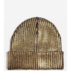 Topshop Gold Foil Beanie Hat ($21) ❤ liked on Polyvore featuring accessories, hats, gold, beanie caps, beanie cap hat, beanie hat, topshop hats and topshop beanie