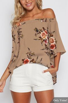 Random Floral Print Off Shoulder Splited Blouse in Khaki - US$15.95 -YOINS