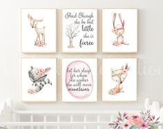 Boho Woodland Animals Set / Though She Be Little / Let Her Sleep / Baby Girl Nursery Art / Printable / Baby Shower Decor / Quote / Bedroom by PolishedCelebrations on Etsy Baby Girl Nursery Decor, Nursery Art, Nursery Ideas, Baby Room, Diy Gifts Just Because, Woodland Nursery Girl, Woodland Theme, Woodland Party, Girl Sleeping