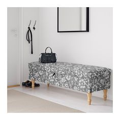 STOCKSUND Bench, Hovsten gray/white, light brown/wood Hovsten gray/white light brown