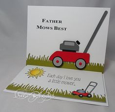 Father Mows Best by - Cards and Paper Crafts at Splitcoaststampers - FURYTEE-Personalized Gifts Birthday Card Sayings, Masculine Birthday Cards, Handmade Birthday Cards, Masculine Cards, Diy Father's Day Gifts, Card Companies, Dad Day, Fathers Day Crafts, Scrapbook Cards