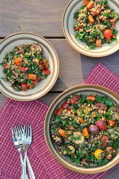 kale, farro and roasted veggie salad