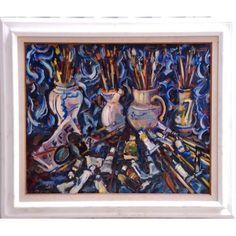 "SERGIO TELLES (1936) - ""Cores, potes e pincéis"" - Óleo s/ tela - ass. inf. esquerdo e verso - 1991 - 60 x 73 cm - Apresenta certificado de autenticidade emitido pelo artista."