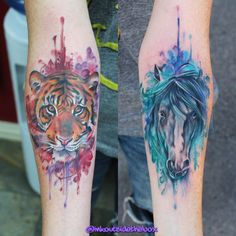 Beautiful watercolor tattoos by @inkoutsideofthebox! #horsetattoo #tigertattoo