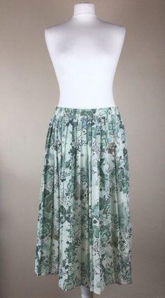 ec6178f08 BM Womens Green Floral Pleated Skirt Size 14 Elasticated Waist Bi8 #fashion  #clothing #