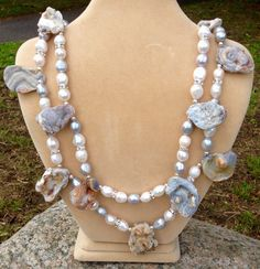 Grey And White, Gray, Earthy, Agate, Pearl Necklace, My Etsy Shop, Pearls, Jewelry, String Of Pearls