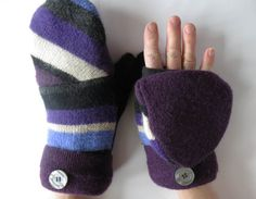 Fleece Lined Wool Convertible Mittens Crafted From Recycled Wool Sweaters and Embellished with Repurposed Buttons