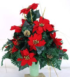 Beautiful Red Poinsettia's Christmas Cemetery Flower Arrangement