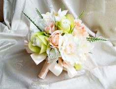 Silk and satin flowers wedding BOUQUET peach green cream Flowers, satin Handle,  Bridesmaids, custom - pinned by pin4etsy.com