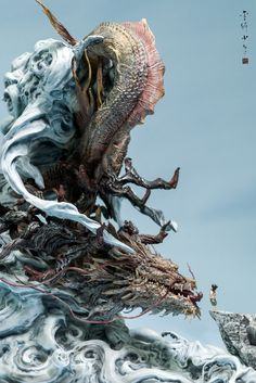 """rhubarbes: """" ArtStation - Fearless journey—statue, by Zhelong Xu More on RHB_RBS """" Fantasy Creatures, Mythical Creatures, Lotus Flower Pictures, Asian Sculptures, Dragon Miniatures, Muse Art, Dragon Art, Dragon Statue, Arte Pop"""
