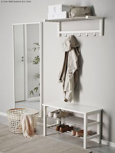 IKEA - TJUSIG, Bench with shoe storage, white, Holds min. 6 pairs of shoes. Combines with other products in the TJUSIG series. Shoe Storage Wardrobe, Shoe Storage White, Bench With Shoe Storage, Storage Benches, Ikea Shoe Bench, Smart Storage, Ikea Hallway, Hallway Storage, Ikea Tjusig