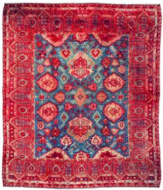 A Turkish Oushak carpet BB2931 - by Doris Leslie Blau.  An early 20th century Turkish Oushak antique rug, the sea blue field with an allover pattern of enlarged stylized ...
