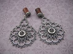Hey, I found this really awesome Etsy listing at https://www.etsy.com/listing/189852190/0g-ornate-antiqued-silver-and-wood