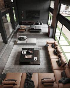 Loft Design, Home Room Design, Dream Home Design, Modern House Design, Home Interior Design, Interior Architecture, Living Room Designs, Luxury Homes Dream Houses, House Rooms