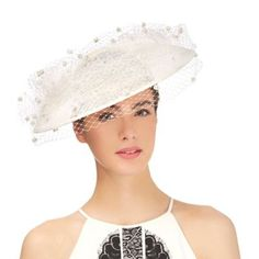 fc9a92832af Top Hat by Stephen Jones Ivory pom pom veil saucer fascinator