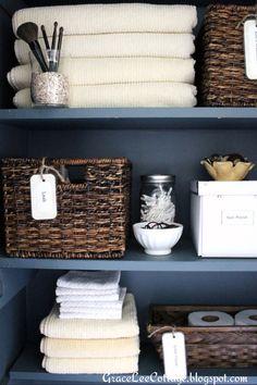Grace Lee Cottage: Linen/Bathroom Closet Tweaks, love the painted shelves Bathroom Closet Organization, Bathroom Organization, Bathroom Storage, Organized Bathroom, Ikea Bathroom, Bathroom Ideas, Bathroom Modern, Bathroom Shelves, Toiletry Organization
