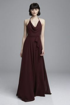 """Daryn"" - Spaghetti strap bridesmaids dress with halter cowl neck shown in Ruby"