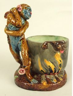 Thomas Sergent, France, Majolica Monkey and Fire Kettle Match Holder