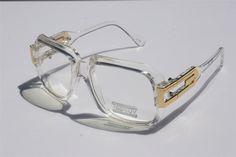 4e22caa9bf35 Details about Clear frame Clear Lens Square Retro Sun Glasses Gold Metal  Accents dmc Square