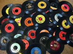 Genuine Record Decorations Set Of 25 45 RPM, Vinyl Records Party Decorations, Arts And Crafts Supplies Vintag Retro Home Decor Those Were The Days, The Good Old Days, 45 Records, Vinyl Records, Baby Records, Vinyl Music, Lps, Great Memories, Childhood Memories