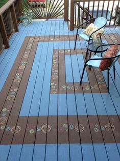 My deck painted with Olympic restore and stenciled to look like a rug., - Outdoor Rugs On Deck Painted Porch Floors, Porch Paint, Porch Flooring, Painted Rug, Outdoor Deck Decorating, Porch Decorating, Outdoor Decorations, Deck Design, Floor Design