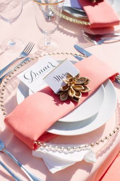 Pink and Gold Place Settings | Meg Perotti | Theknot.com