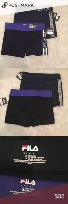 FILA spandex shorts bundle NWT Super comfy shorts perfect for leisure or exercise! One pair is a navy blue with fila detailing on both sides (second pair) and the other is black with a purple band and fila detailing on only one side (first pair). Originally $30 each. Make an offer! :) 💜 Fila Shorts