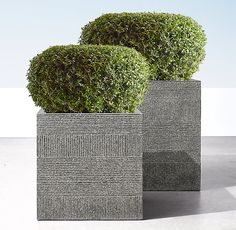 RH's Vetro Cube:Designed by Mitch Brean, our planter's classic shape gains textural interest from the horizontal bands and diagonal and vertical lines etched into its surface. Home Landscaping, Front Yard Landscaping, Outdoor Pots, Indoor Outdoor Rugs, Modern Rustic Furniture, Cement Art, Inside Plants, Cube Design, Large Planters