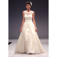 A-line Straps Sweetheart Lace Applique Embroidery Empire Floor-length Sweep-train Wedding Dresses S3486 - Ivory - A-line - Organza
