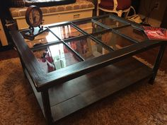 Turn an old window into a coffee table!!  #atreasureredefined #DIY