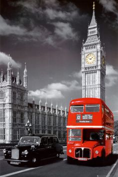 London Double Decker Bus in front of Big Ben.  Poster, Canvas, Wood Mount, or Laminate