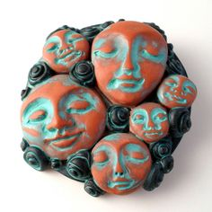 Face Cabochons Brooch Polymer Clay Pin Ethnic Faces by WingsOfClay, $40.00