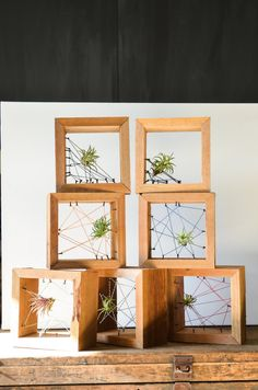 Air plant personal Rustic Reclaimed Recycled salvaged wood holders. Vase, wall decor, geometric, terrarium wedding birthday Valentines gift. $30.00, via Etsy.