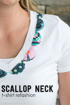 Scallop Neck T-Shirt Refashion a DIY fashion Tutorial on polkadotchair.com
