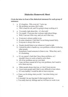 Homework assignments for borderline personality disorder