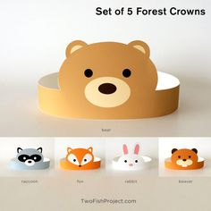 Set of 5 DIY Printable Forest Animals Paper Crowns: fox, bunny rabbit, beaver, brown bear and raccoon. Perfect for kids parties, birthdays, baby showers, costumes. This listing is for instant download digital files. No physical item will be shipped. Buy it once, print as many as you