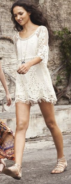 Floral crochet detail mini dress