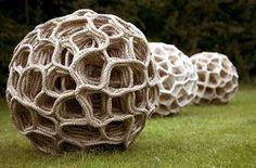 "...""giant seed pods""...judy tadman...fiber..textile artist..sculptor....huddersfield..west yorkshire..england..uk...rope sculptures and 3d textiles..."