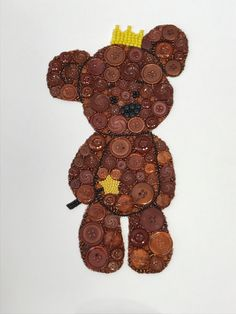 Brown Princess Teddy Bear Button Art Nursery Decor