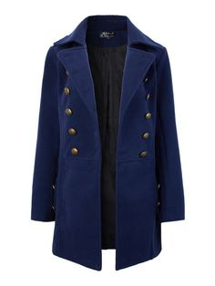 Women Long Sleeve Pure Color Double Breasted Woolen Long Coat - Gchoic.com