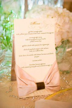 Adore the elegant bow detail on this wedding menu.  Photo by Chris Humphrey Photographer.