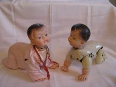 Vintage Antique Baby Dolls Antique Crawling Baby doll lot of 2 Made in Japan