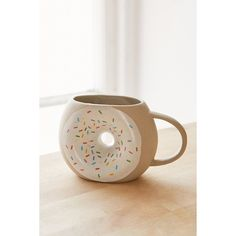 Donut Mug ($12) ❤ liked on Polyvore featuring home, kitchen & dining, drinkware, urban outfitters and white mug