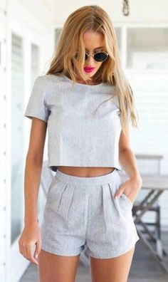 Romper: shorts, crop tops, sunglasses, top, grey shorts, jumpsuit, short jumpsuit, t-shirt, grey crop top, grey top, chic, chic top, trendy, trendy top, classy top, casual, classy, sporty, sporty chic, outfit, blouse, grayoutfit, two-piece, crop, spring outfits, mura boutique, muraboutique, grey t-shirt, summer top, summer shorts, minimalist, shirt, dress, where can i get this set?, light blue, pleats, set, grey - Wheretoget