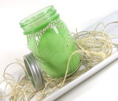 Tobacco Cedar scented Soy Candle, Vintage Green Mason Jar, 16 ounce Jar, by curiouscarrie, $18.50 #soycandle #candles #scentedcandles #masonjar #tobacco #cedar