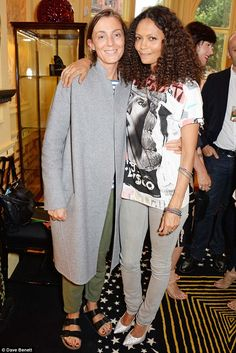 Opposites attract: The star also spent time chatting with fashion designer Phoebe Philo, who showed off her quirky style in green pants, a grey and white striped tee, long soft grey woollen coat and black Birkenstocks Celine, Birkenstock, Street Chic, Street Style, Thandie Newton, Grace Jones, Phoebe Philo, Fashion Images, Striped Tee