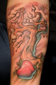 Apple And Tree Tattoo. I want a different tree. But I like the tree with a big apple in the front