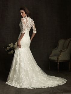 Ivory Lace Sweetheart Illusion 3/4 Sleeves Wedding Gown - Unique Vintage - Homecoming Dresses, Pinup & Prom Dresses.