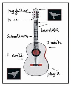 """My guitar"" Permanent pigment ink on archival 300 lb. watercolor paper, 38 x 30.5 cm (edition of 50) (Courtesy of Leonard Cohen)"